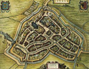 Oude foto van Sneek met stadsgrachten. Jaartal rond 1294.